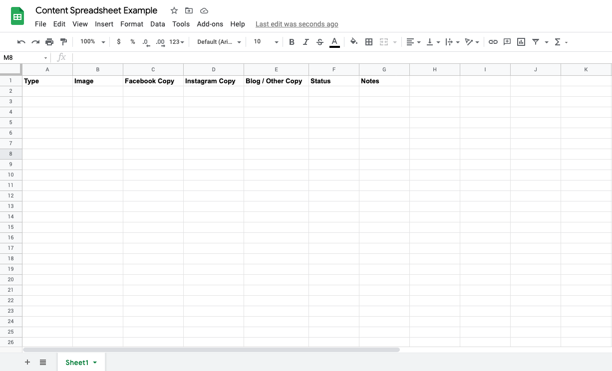 Titles added to content spreadsheet