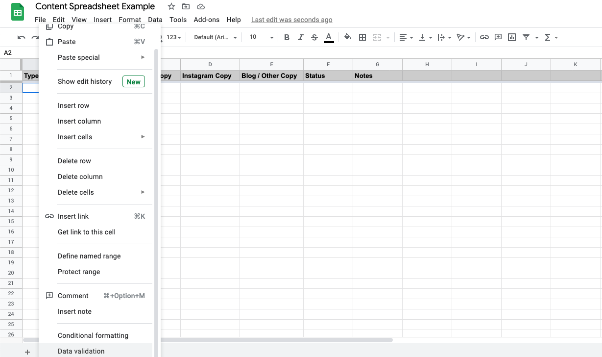 Adding a drop-down menu to the content spreadsheet