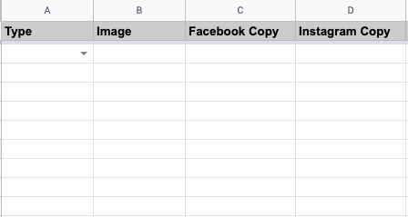 What the closed menu looks like in the content spreadsheet