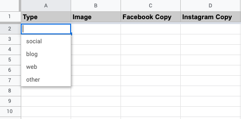 What the menu looks open like in the content spreadsheet