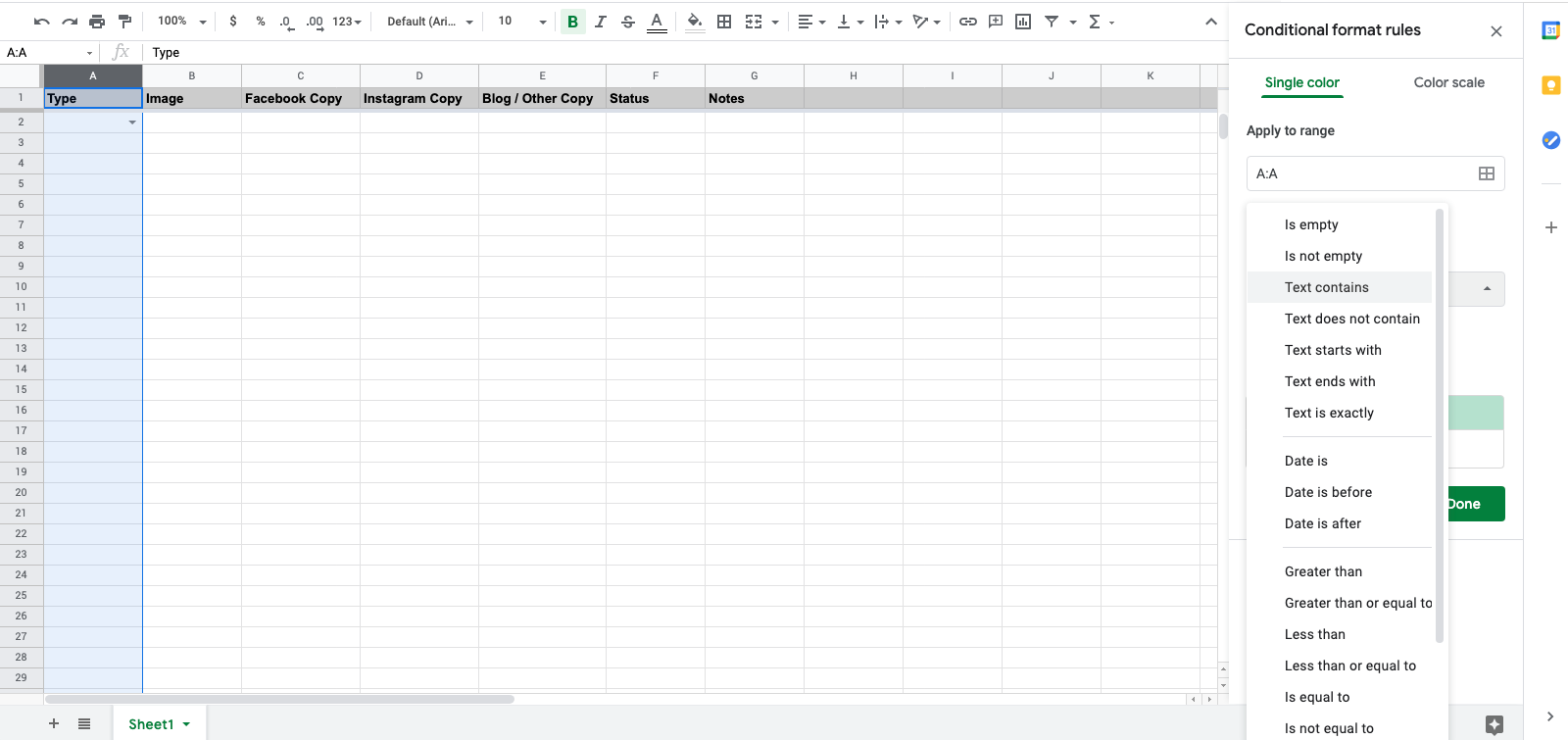 Where to find conditional formatting